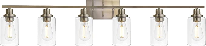 MELUCEE Modern Bathroom Vanity Light Fixtures 6-Light Brushed Nickel Contemporary Wall Light with Glass Shade for Kitchen Living Room Bedroom