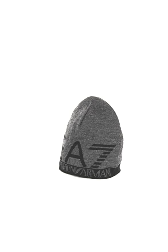 EA7 by Emporio Armani Train Visibility Printed Grey Beanie Hat S   Amazon.co.uk  Clothing bf36329e4afd