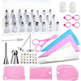 Cake Decorating Supplies Kit POQOD 53-in-1 Stainless Steel Numbered Icing Tips Set with Silicone Pastry Bags Icing…
