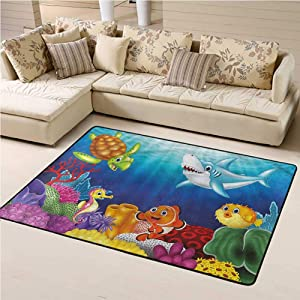 Area Rug Aquarium, Exotic Happy Ocean World Indoor/Outdoor Rug Durable and Resistant to Soiling 4 x 6 Feet