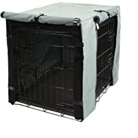 TOPEIUS Dog Crate Cover Cage Cover for 18inch Double Door Wire Crate, Durable Waterproof Pet Kennel Covers with Mesh…