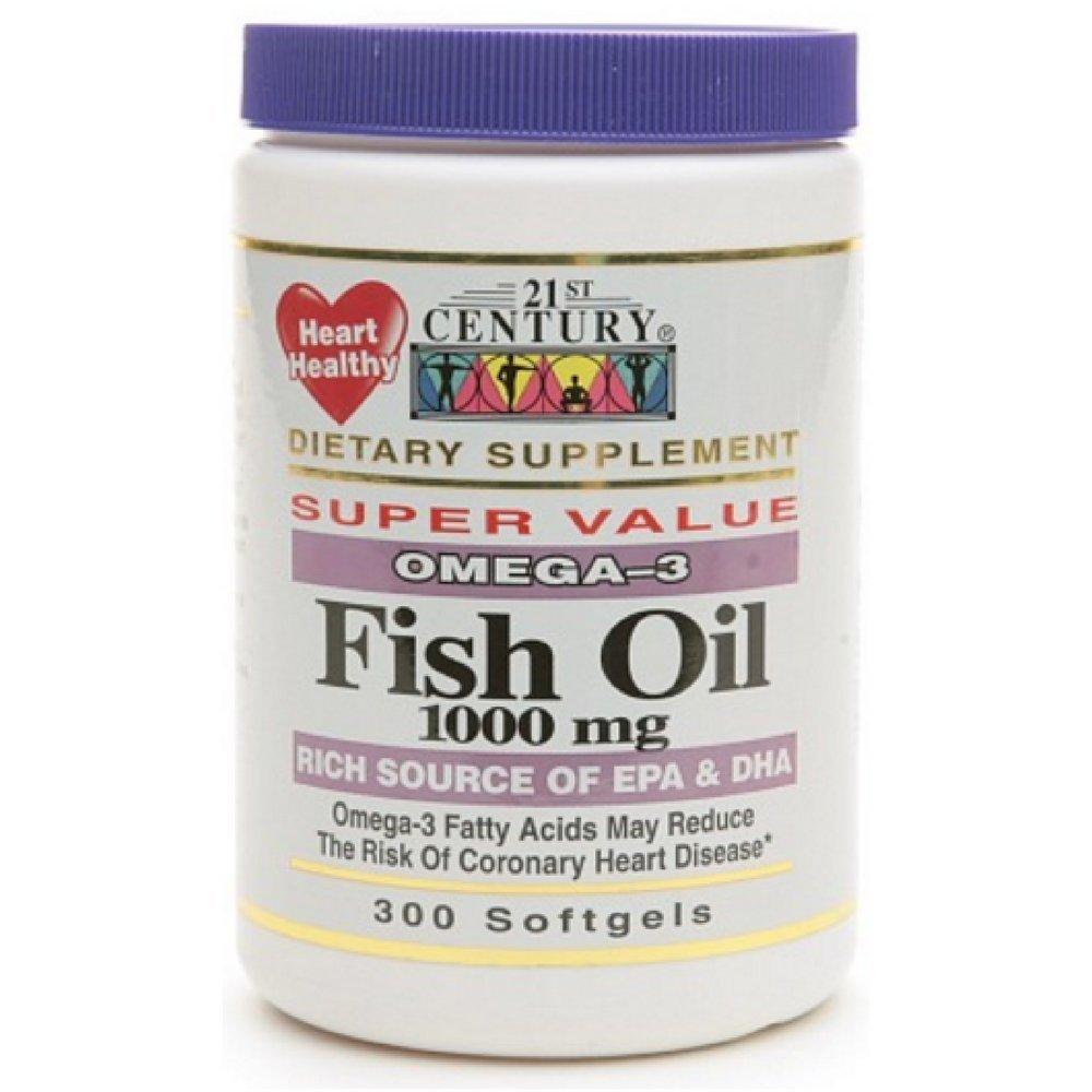 21st Century Omega-3 Fish Oil 1000 mg Softgels 300 ea (Pack of 6)