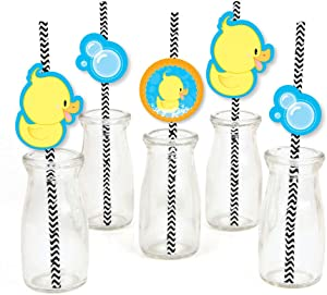 Big Dot of Happiness Ducky Duck Paper Straw Decor - Baby Shower or Birthday Party Striped Decorative Straws - Set of 24