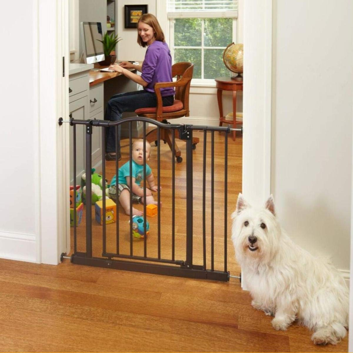 North States 38.25 Wide Portico Arch Baby Gate Decorative heavy-duty metal safety gate with one-hand operation and durability. Pressure mount. Fits 28.25 -38.25 28.5 tall, Bronze