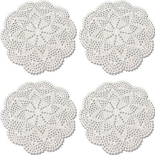 Rusoji Handmade Round Crochet Cotton Lace Table Placemats Doilies, Set of 4, White, 10 - Set Doily