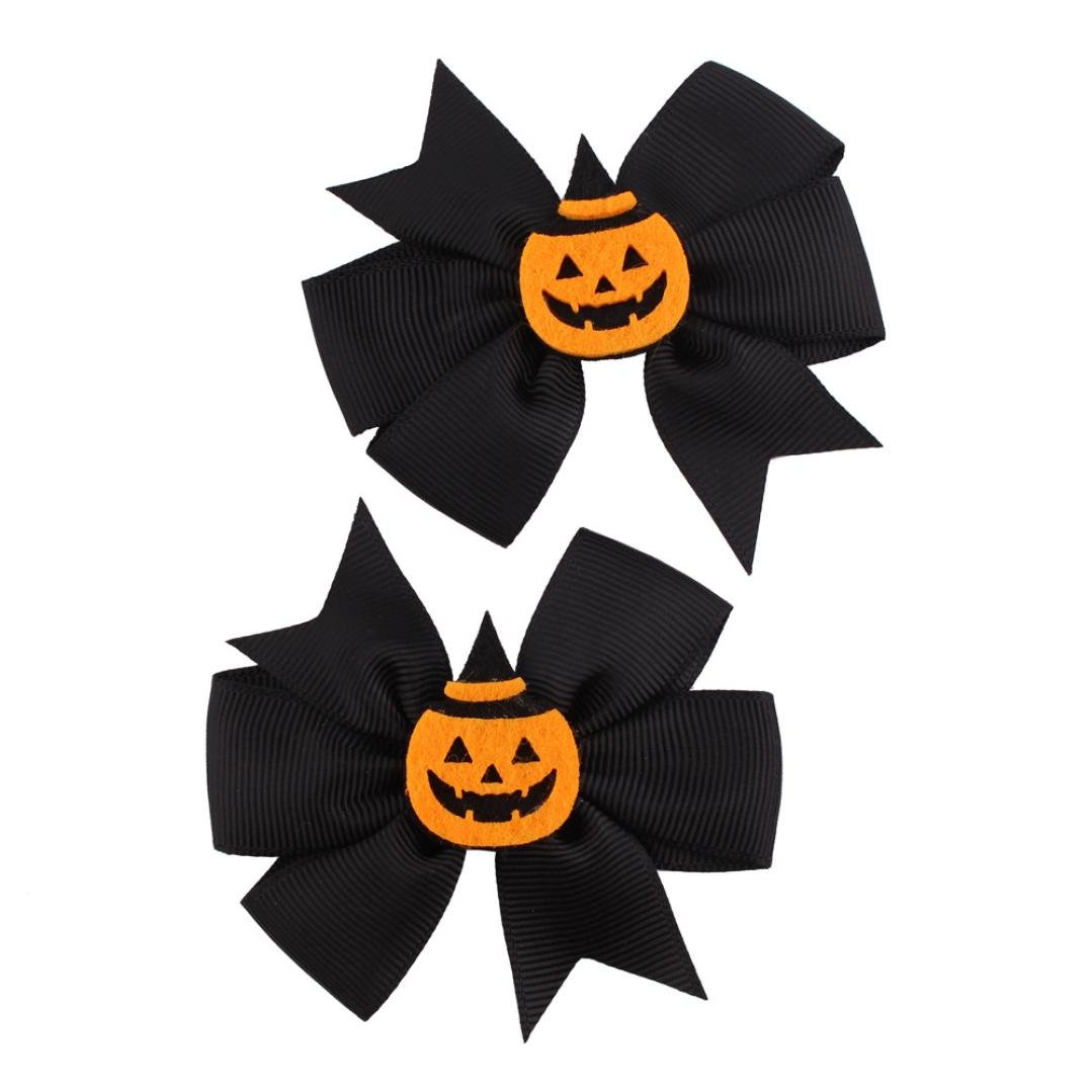 Gotd1 Pair Fashion Toddler Baby Kids Girls Bowknot Hairpin Headdress Halloween Decorations (Black&Orange B)