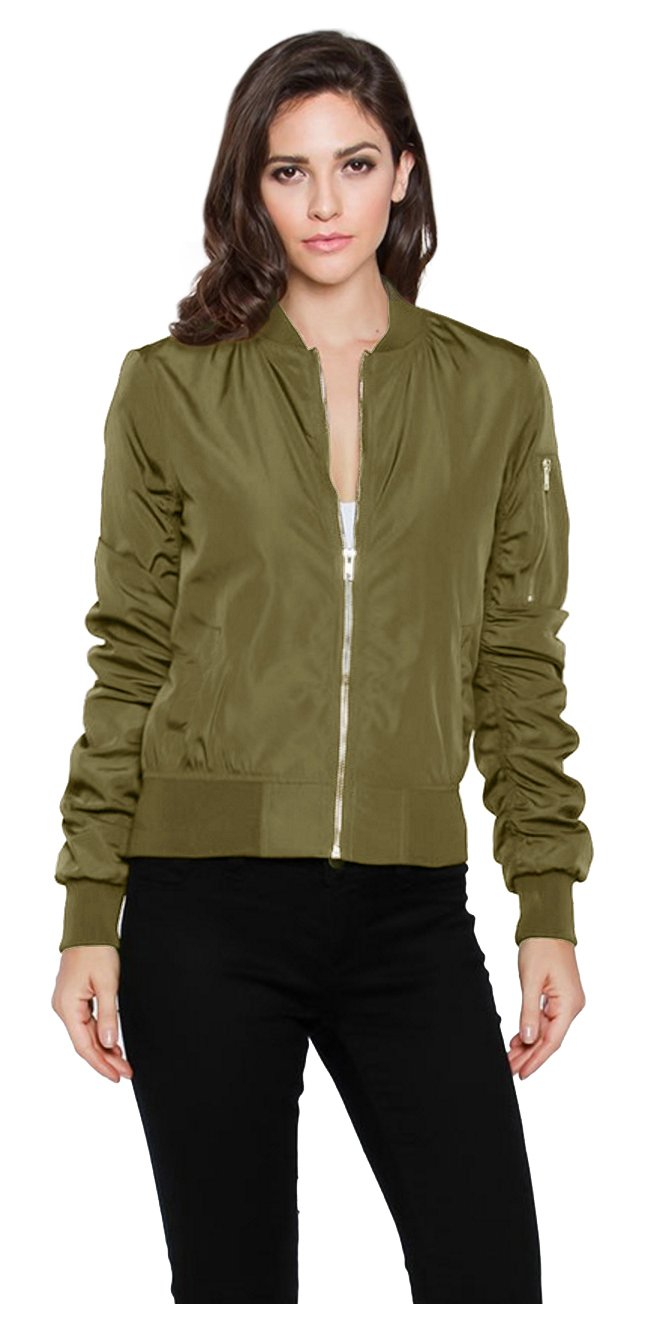 Tabeez Women's Military-Inspired Bomber Jacket with Sateen Finish and Pockets  Olive Large