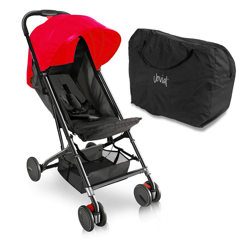 Portable Folding Baby Travel Stroller - Upgraded Lightweight Foldable Compact Stroller w/Adjustable Reclining Seat, Foot-Activated Brake, Locking Front Wheels, Retractable Canopy - Jovial