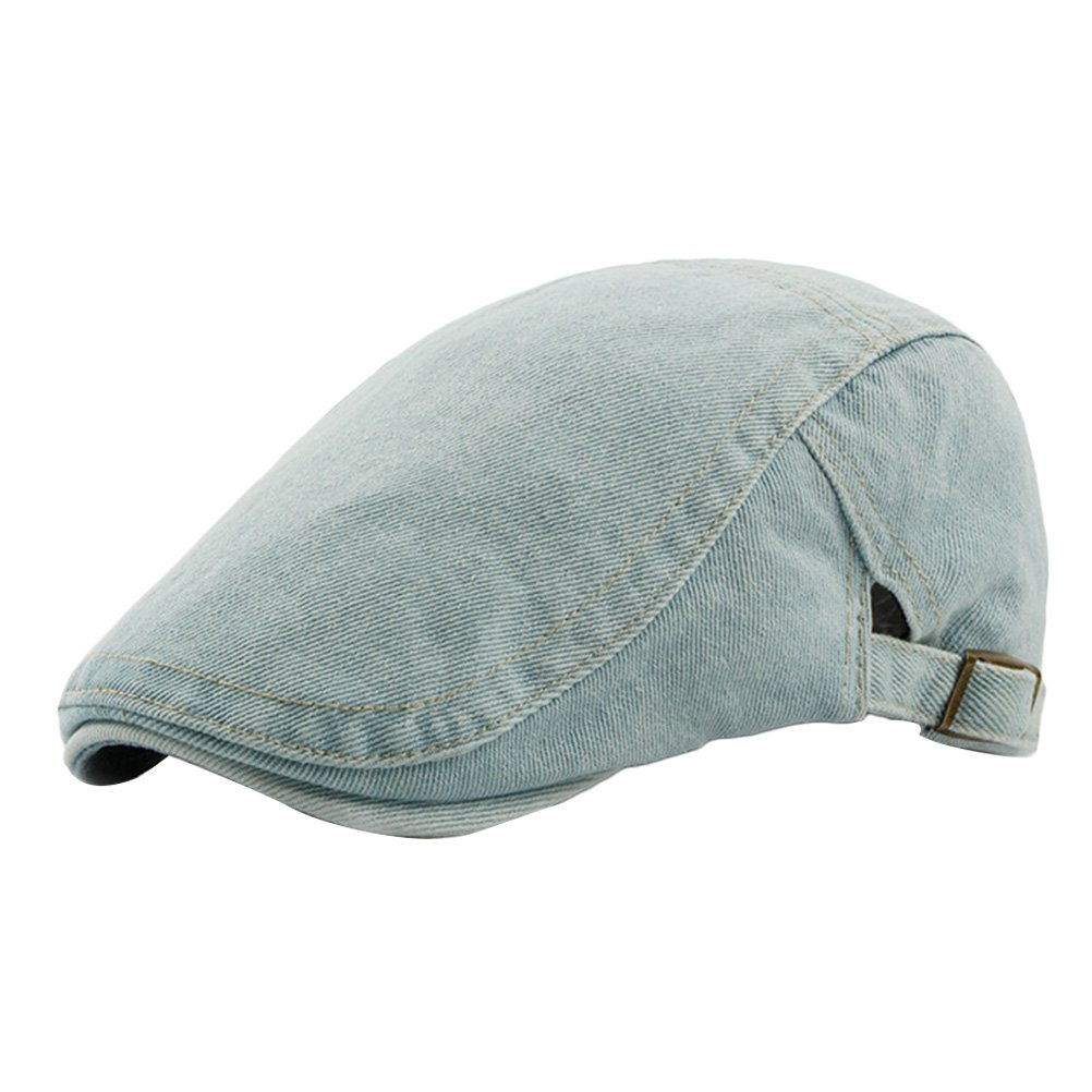 9cc78d658 Zhhlaixing Unisex Adjustable Spring Summer Outdoor Sun Hat Ivy Cap Cabbie  Flat Cap Denim Berets CQ0720  Amazon.co.uk  Clothing