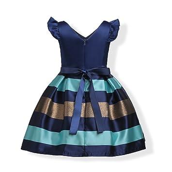 FXFAN Vestidos para Niñas Vestidos de Fiesta de Boda Formal Vestidos de Princesa ZHANGM (Azul