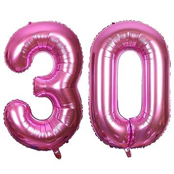Meowoo Globo de Cumpleaños 30 Globo de Papel de Aluminio Globo Grande 100cm 40 Pulgada Fiesta de cumpleaños Suministros Decoración (Rosa Num 30)