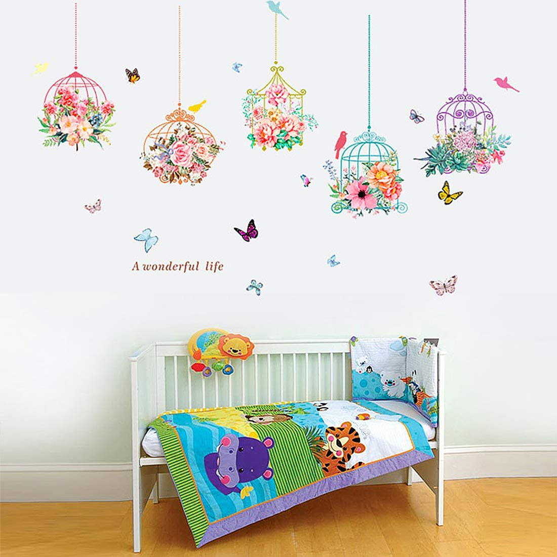 Flower Butterfly Bonsai Wall Stickers Removable Vinyl Birdcage Plants Wall Decal for Kids Bedroom Family Living Room Decorative