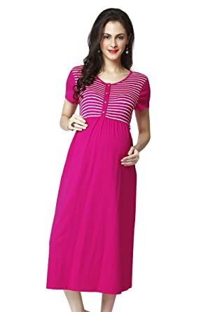 09ae8940ebc Nine Maternity Nursing Dress In Hot Pink  Amazon.in  Clothing   Accessories