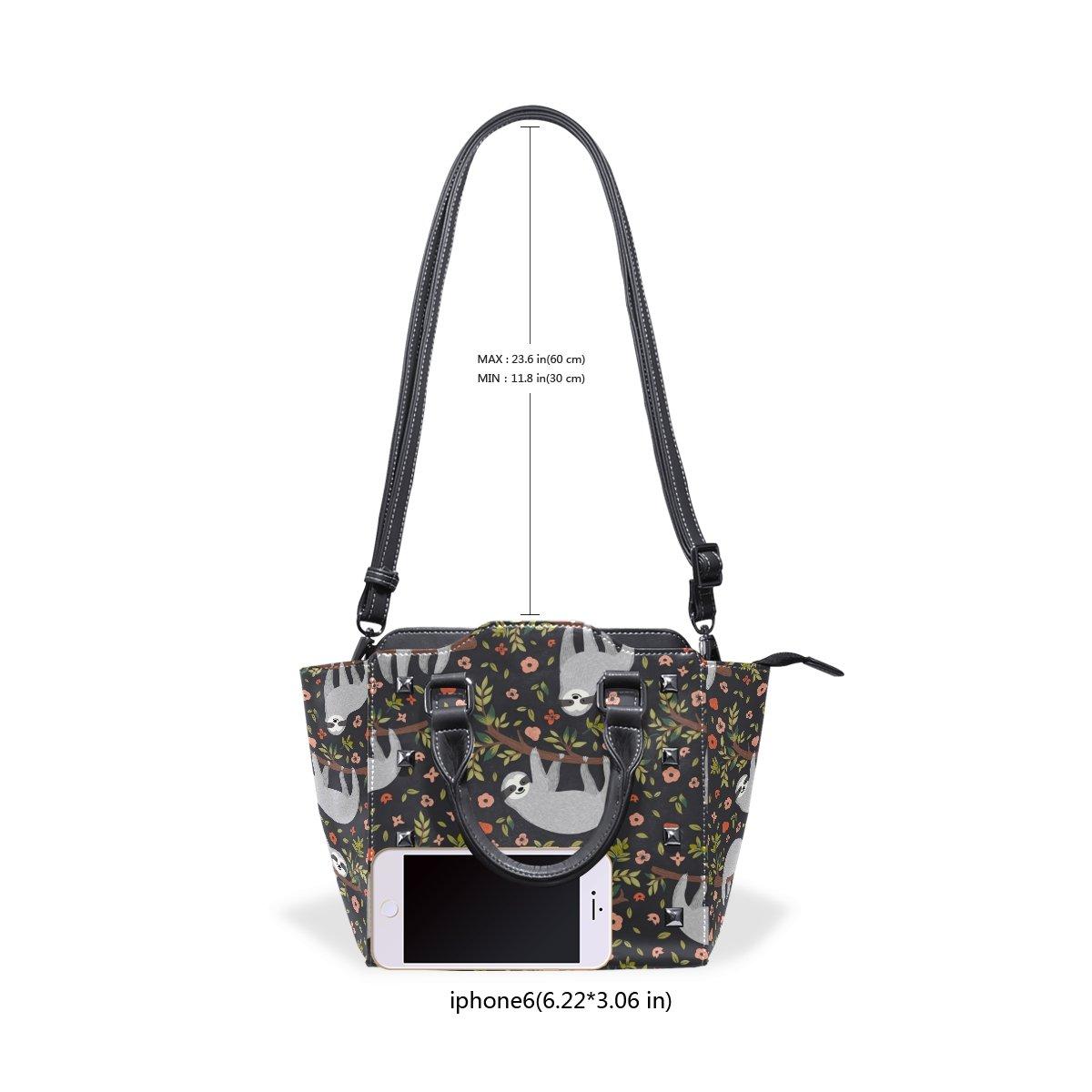 Womens Top Handle Satchel Handbag Forest Cute Sloth Branch Flowers Ladies PU Leather Shoulder Bag Crossbody Bag