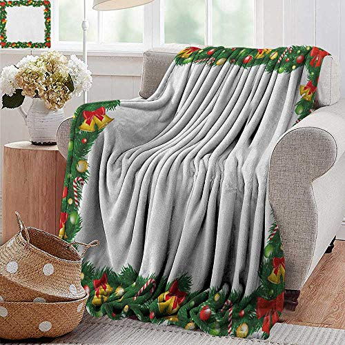 XavieraDoherty Travel Blanket,New Year,Xmas Themed Garland with Candy Canes Ribbons Colorful Baubles and Bells Winter, Multicolor,Cozy Hypoallergenic, Easy to Carry Blanket 50