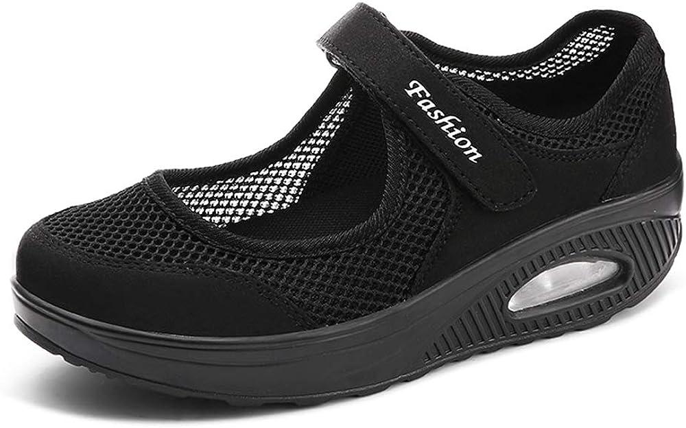 Moda Mujeres Tejida Cómodos Zapatos para Caminar Zapatillas De Deporte Talla 35-42 Zapatos Respirado Ligero Malla Mujeres Deporte Running Zapatillas Sacudir Casual Zapatos Height-Increasing Sneaker