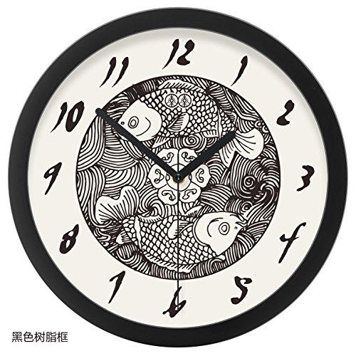 FortuneVin Wall Clock Non-Ticking Number Quartz Wall Clock Living Room Decorative Indoor Bedroom Kitchen Art-Form Classical Wooden Fish Creative Mute Quartz Clock 10 Double-Fish, Black Plastic Box