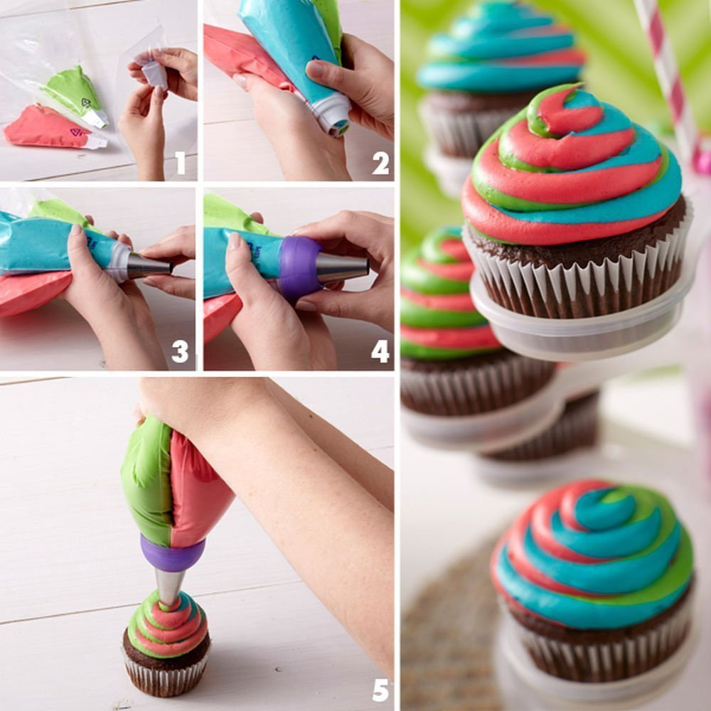 FireBee Russian Piping Tips Set 24 Pcs for Cake Decorating Supplies Kit with 12 Large Flower Icing Nozzles 10 Disposable Pastry Bags 2 Tri-Color Couplers by FireBee (Image #4)