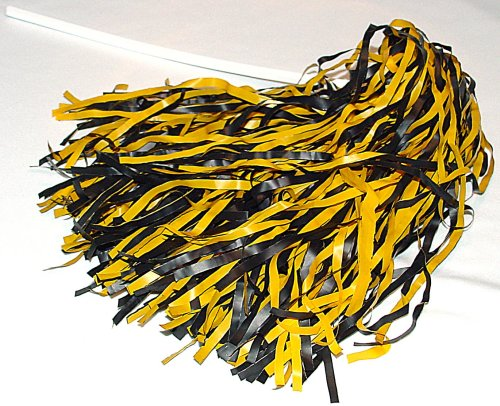 Two Color Rooter Pom - Qty. 10, Black/Bright (Black And Gold Pom Poms)
