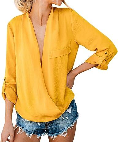 TOPKEAL Camisa Femenina Casual de Manga Larga con Cuello de Pico Blusa de Color Sólido Cruzado para Mujer: Amazon.es: Ropa y accesorios