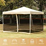 VIVOHOME 420D Oxford Heavy Duty Outdoor Easy Pop Up Canopy Screen Party Tent with Mesh Side Walls Beige 10 x 10 ft