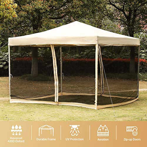 VIVOHOME 420D Oxford Heavy Duty Outdoor Easy Pop Up Canopy Screen Party Tent with Mesh Side Walls Beige 10 x 10 ()