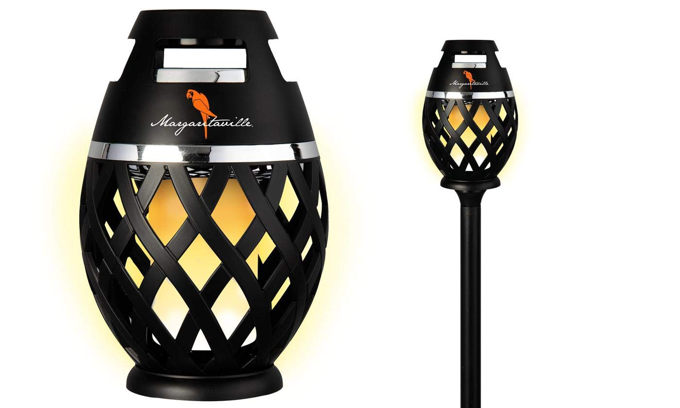 Two Pack Margaritaville Sounds of Paradise Outdoor Tiki Torch Bluetooth Light-Up Speaker- No Flame LED Lanterns/Lamp. Outside Patio Lights/Lantern Portable Blue Tooth Tiki Torch Stereo Speakers by Margaritaville