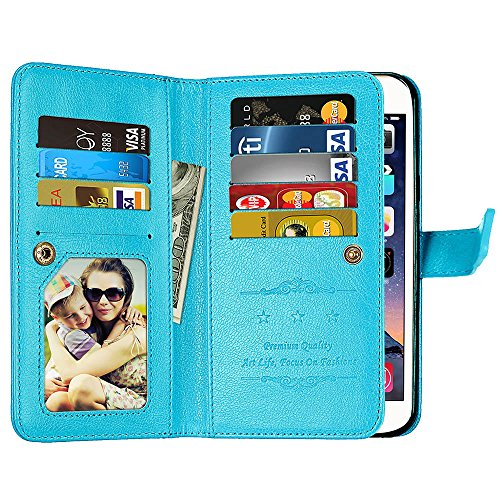 Eclipse Wallet (Galaxy J3 Emerge Wallet Case,J3 Prime,J3 Mission,J3 Eclipse,[9 Card Slots] Leather Wallet Flip Folio [Stand Feature] [Magnetic Closure] Protective Case Cover for Samsung Galaxy J3 2017 J320 (Blue))
