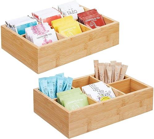 mDesign Juego de 2 cajas organizadoras para bolsitas de té, especias, azúcar, etc. – Compacto cajón de madera para la cocina – Caja para infusiones de madera con 6 compartimentos – color natural: Amazon.es: Hogar