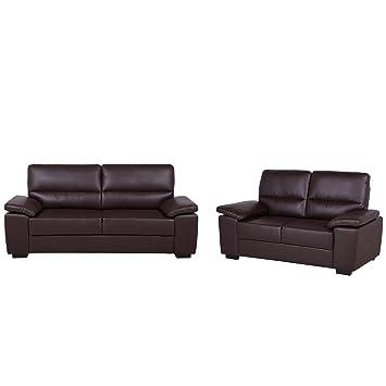 Beliani Conjunto de sofás en Piel sintética marrón VOGAR ...