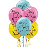 HK Balloons Peppa Pig Latex Balloon, Medium (Blue, Yellow & Pink) - Pack of 30