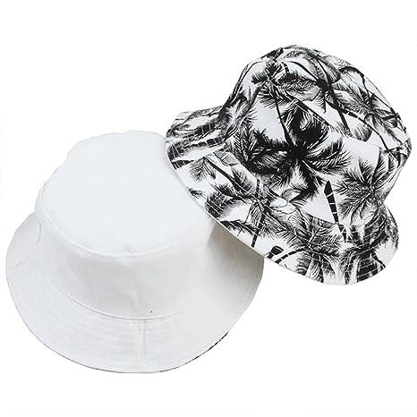 AJOG Secchio Hip Hop Boonie Cappello da Sole Unisex Mens Ladies Reversibile  Albero di Cocco Stampa 91a77ae353da