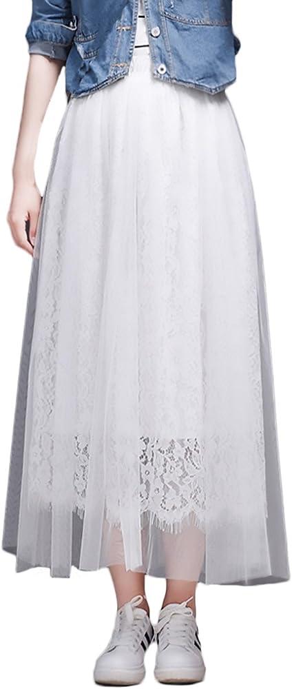 Falda Mujer Elegantes Encaje De Malla Faldas Largas Verano Cintura ...