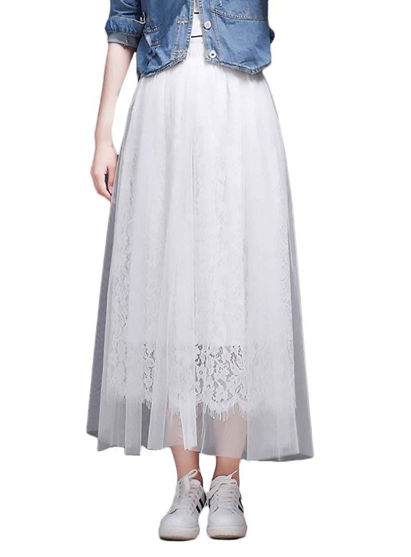 8c689ba268 gut eingezäunt Röcke Damen Elegant Sommer Spitze Netz Garn Langer Rock High  Waist Mode Sweet Style