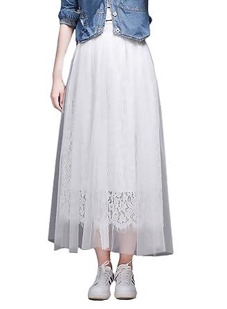 disfruta del mejor precio gran selección 60% de liquidación Falda Mujer Elegantes Encaje De Malla Faldas Largas Verano ...