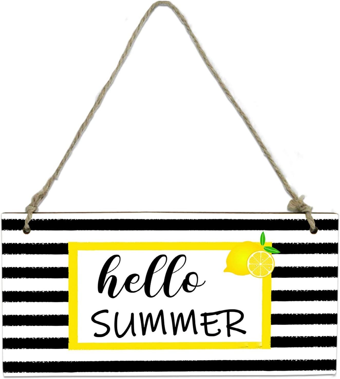 Hello Summer Lemon Yellow Lace Hanging Sign Board for Wall Door Home Decor, Black White Stripes Fresh Fruit Wooden Plaque with Hang Rope - 8