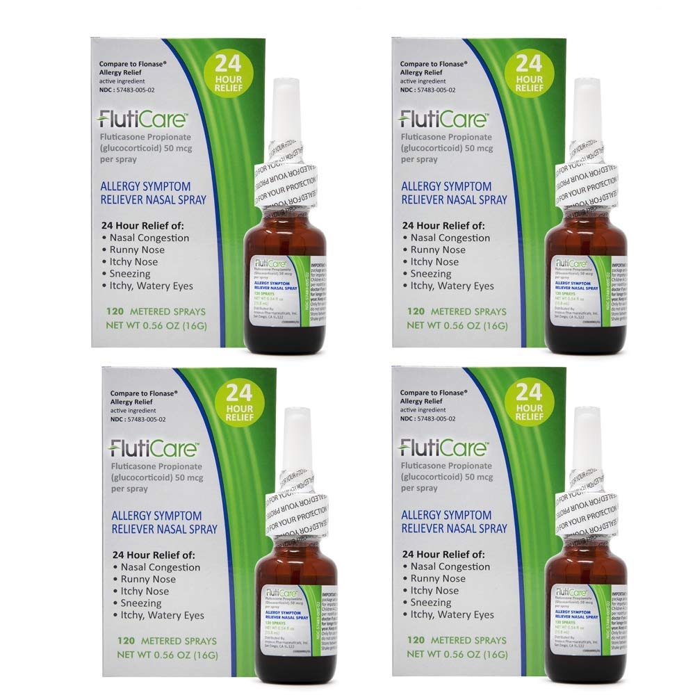 FlutiCare® 120 metered Nasal Sprays (4 Pack), Fluticasone Propionate 50mcg, Relief During Allergy Season from Pollen, Dust, Dander, Both Indoor and Outdoor allergens - 4 Month Supply by FlutiCare