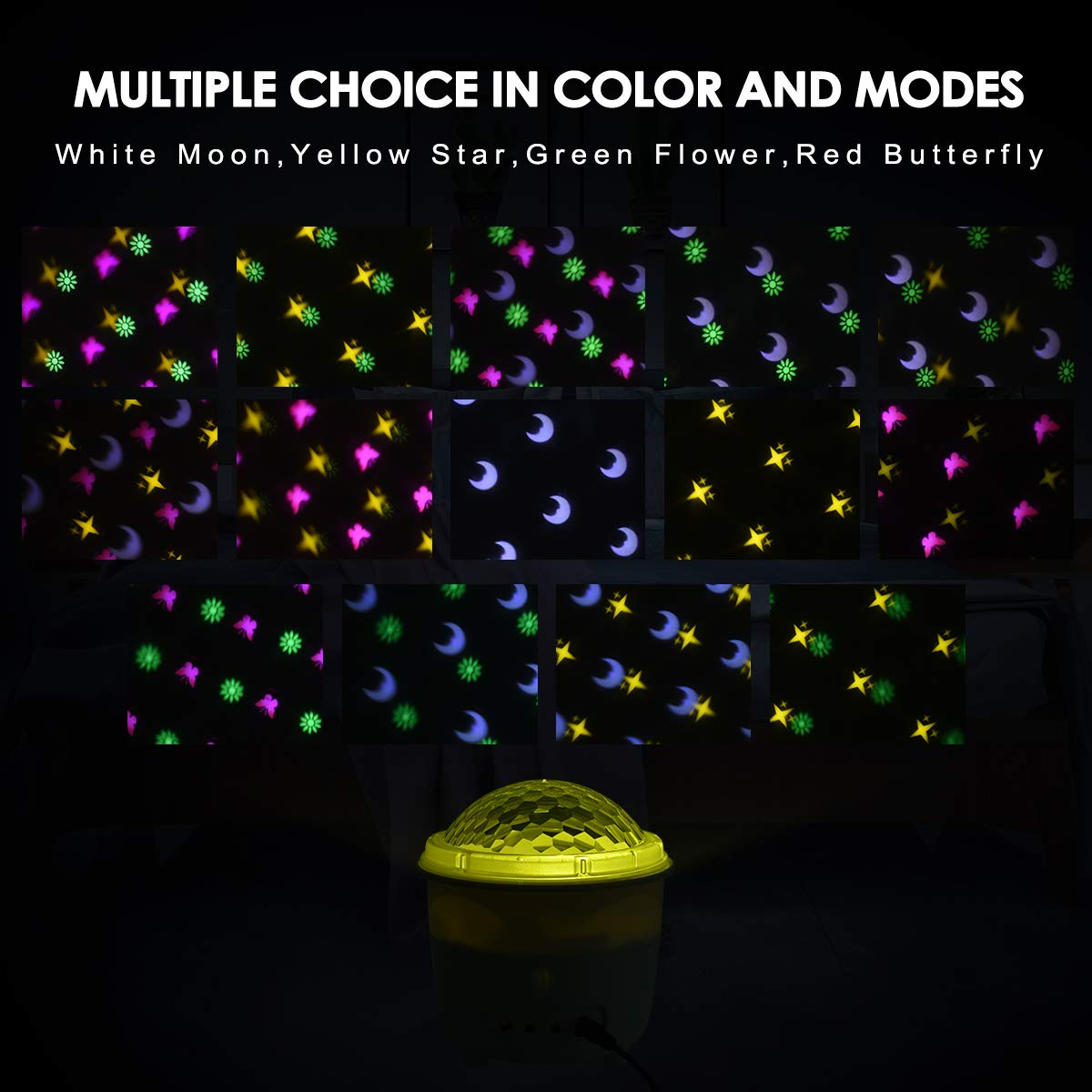 Sound Activated Mood Nursery Lamp For Baby Bedroom Living Room Night Light Projector Kids Night Lamp Projector Light 2 In 1 With Remote Control Timers Baby Night Lights