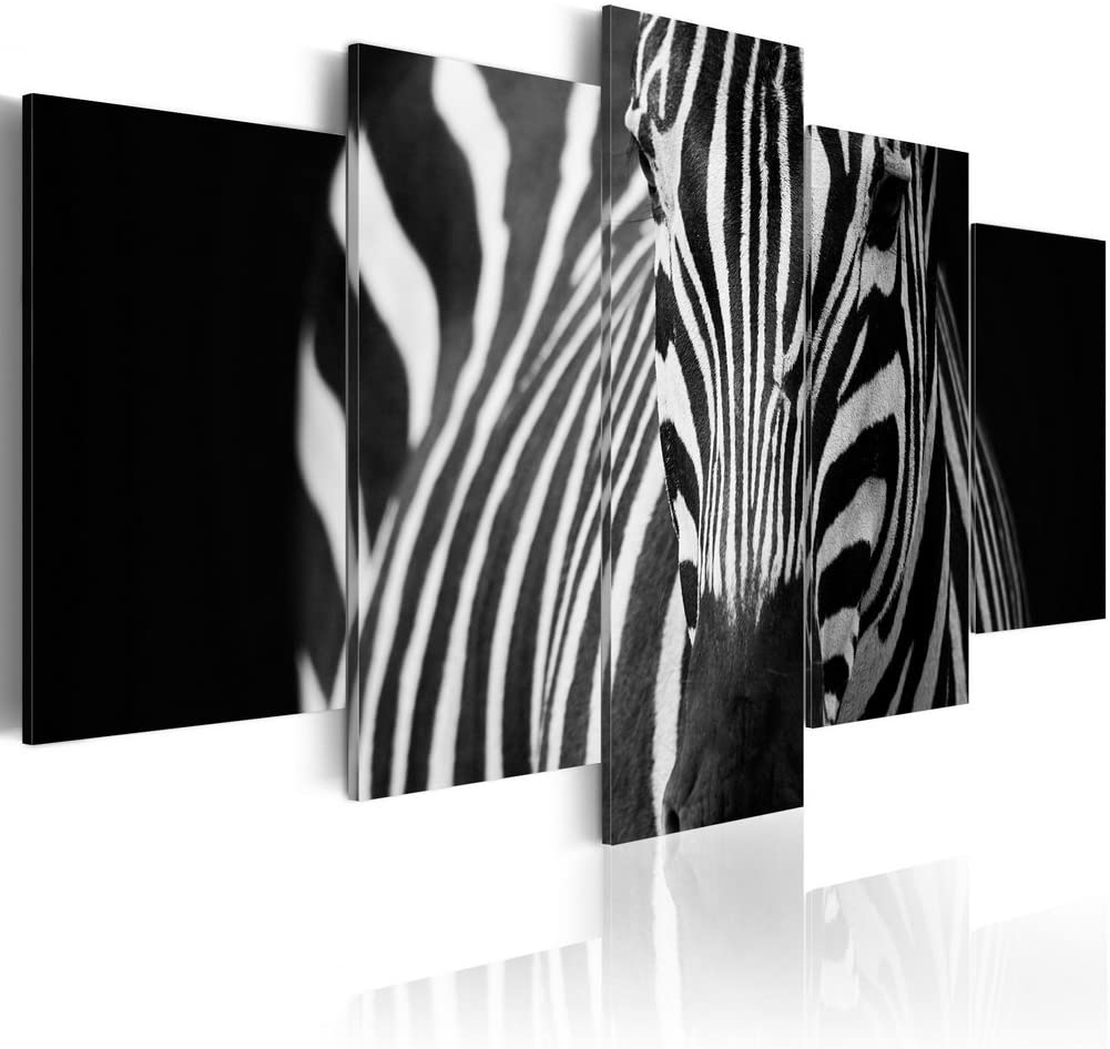 "Konda Art Large Zebra Paintings for Wall Decor 5 Piece Canvas Art Modern Home Decoration Framed Animal Picture Artworks for Living Room Ready to Hang (Zebra look, 40""x 20"")"
