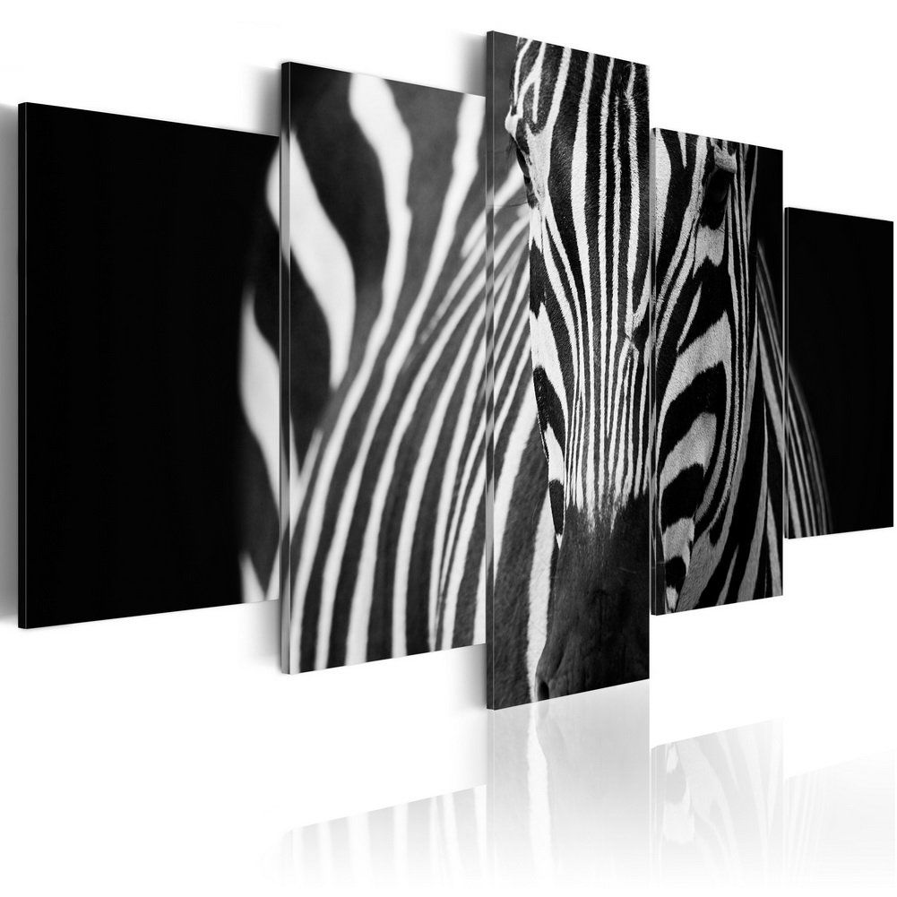 Konda Art Large Zebra Paintings for Wall Decor 5 Piece Canvas Art Modern Home Decoration Framed Animal Picture Artworks for Living Room Ready to Hang (Zebra look, 40''x 20'')