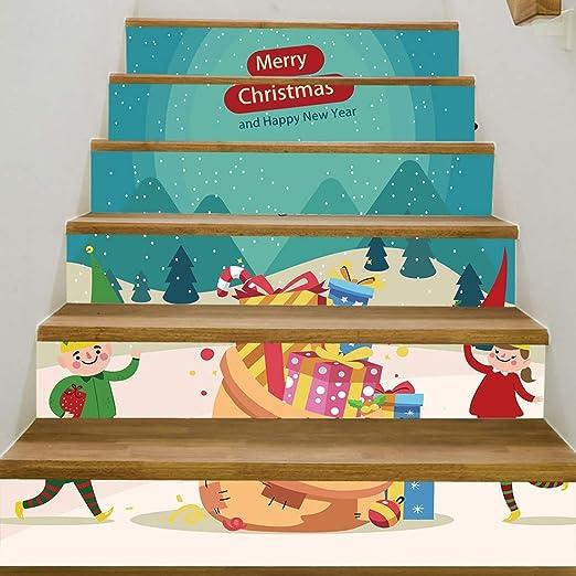 YUMUYMEY Escaleras de Navidad Anzuelos Pegatinas Extraíbles Impermeables Autoadhesivas Wallpaper Wallpaper Pegatinas de Escalera para la Decoración de Navidad (Color : B): Amazon.es: Hogar