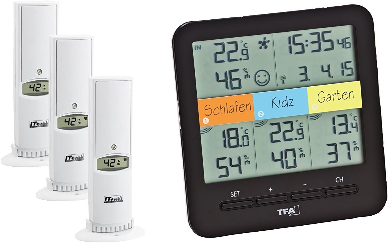 32 H 128 x x TFA Dostmann Klima Home Hygro-Station 30.3060.01 Funk-Thermo-Hygrometer mit 3 Sendern L Schwarz, Kunststoff B 128 mm 58