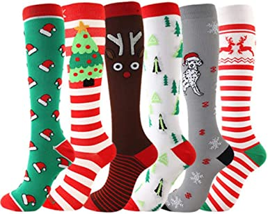 Amazon Com Compression Socks For Women Men 6 Pair 20 30 Mmhg Christmas Novelty Socks Compression Stockings For Running Medical Travel Clothing
