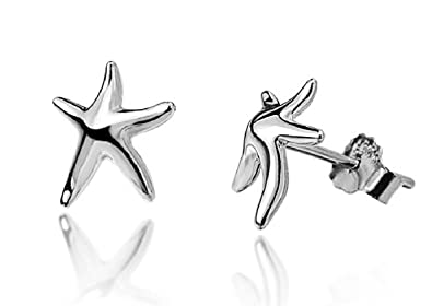Sterling Silver Starfish Earrings - SIZE:10mm x 12mm. Gift boxed Silver Starfish stud earrings 5142 Sxrbyhrq9u