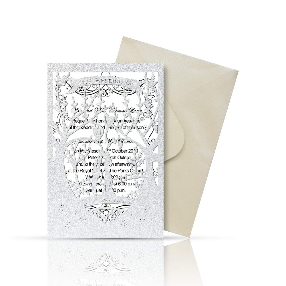 picture relating to Printable Invitation Kits called Laser Minimize Printable Marriage Invitation Kits - 25personal computers 4.7 x 7 Get pleasure from Tree Marriage Invites Playing cards with