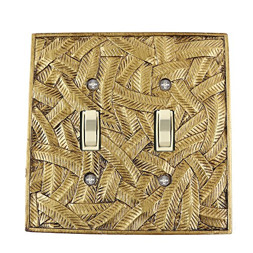 Meriville Island 2 Toggle Wallplate, Double Switch Electrical Cover Plate, Antique Gold