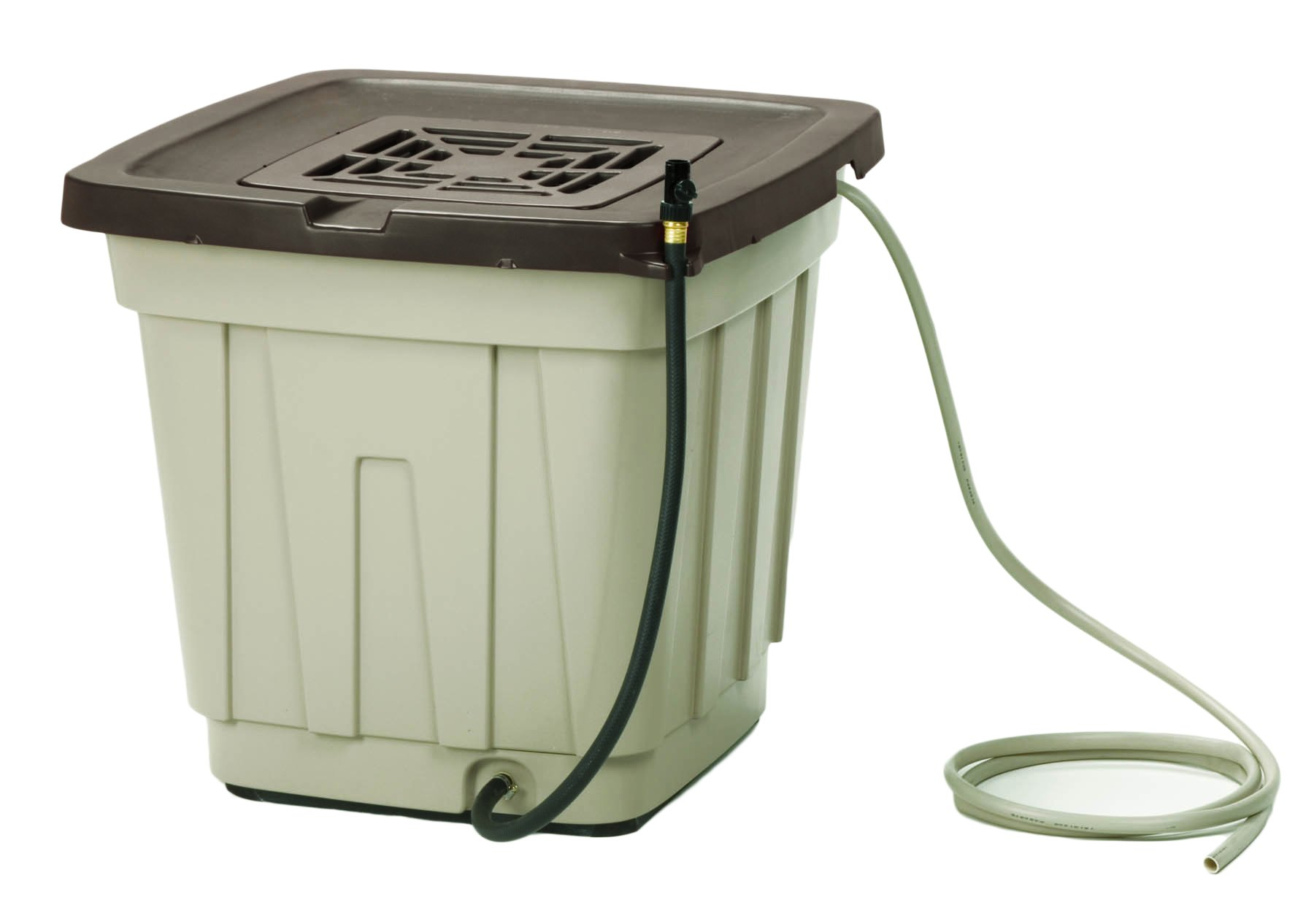 Suncast 50 Gallon Rain Barrel with Hose - Durable Resin Rain Barrel - Holds and Catches Rain Water - Taupe by Suncast