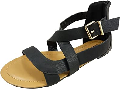 spartiate chaussure zip talon plat
