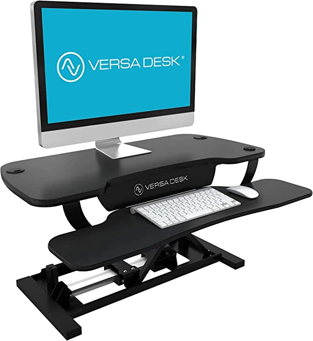 "VersaDesk USA Made | Power Pro Electric Height-Adjustable Desk Riser | Standing Desk Converter | Sit to Stand Desktop with Keyboard + Mouse Tray (All Black, 36"" X 24"")"