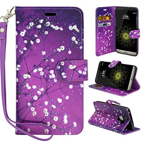 LG G6 Case, LG G6 Wallet Case,Customerfirst PU Leather Magnetic Flip Design Wallet Case for LG G6 + emoji keychain (Blossom Purple)